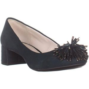 Anne Klein Happy Dark Green Pom Pom Suede  Heels
